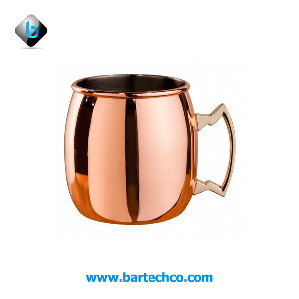 MEZCLAR CURVED MOSCOW MULE MUG COPPER PLATED - BRASS HANDLE 500 ML - BartechCo