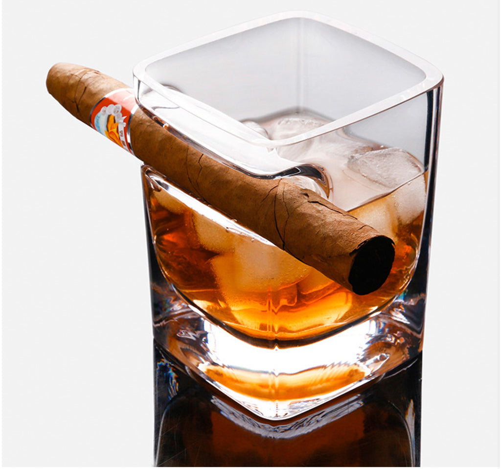 Cigar Glass, Whiskey Glass Cup with Cigar Holder Transparent 320 ML