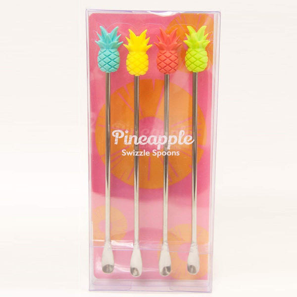 Pineapple Silicone Swizzle Spoons Pack of 4 - BartechCo