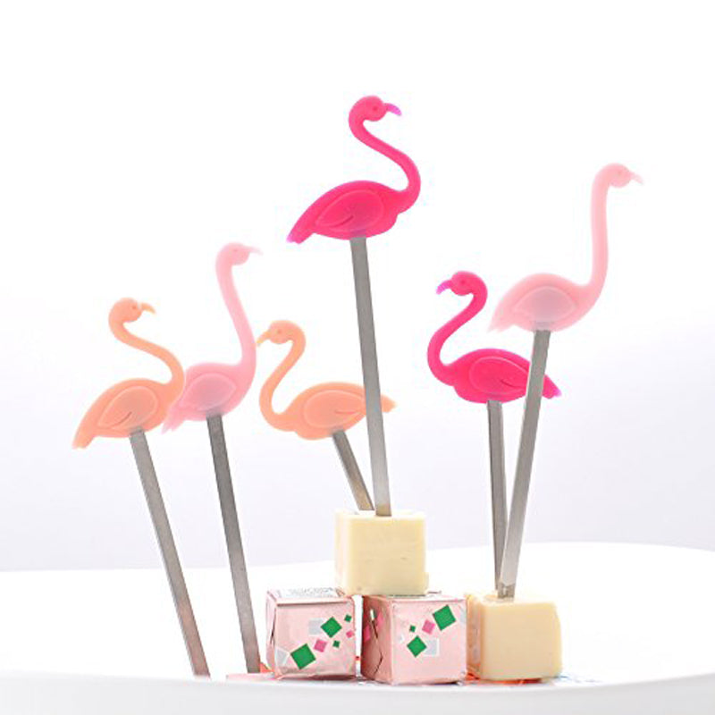 Flamingo Silicone/Steel Cocktail Picks 6pcs/Pack - BartechCo