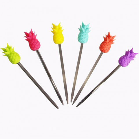 Pineapple Silicone/Steel Cocktail Picks 6pcs/Pack
