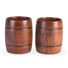 Wooden Barrel Glasses 2pk