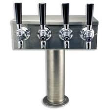"Four Faucet T Tower 3"" Column Brass"