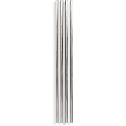 Metal Straws 10'' Silver 4pc - BartechCo