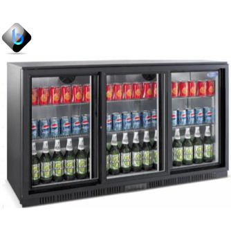 Back Bar Bottle Cooler 3 Sliding Doors (Black)