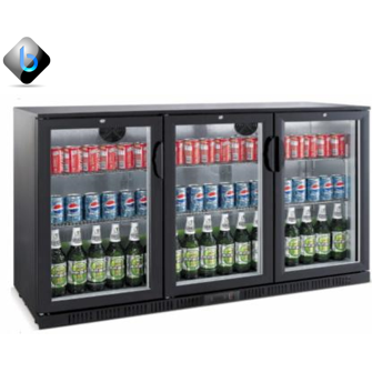 Back Bar Bottle Cooler 3 Hinge Doors (Black) - BartechCo