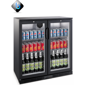 Back Bar Bottle Cooler 2 Hinge Doors (Black)