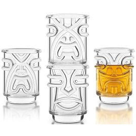 Tiki Shot Glasses Clear 4pc