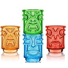 Tiki Shot Glasses Coloured 4pc