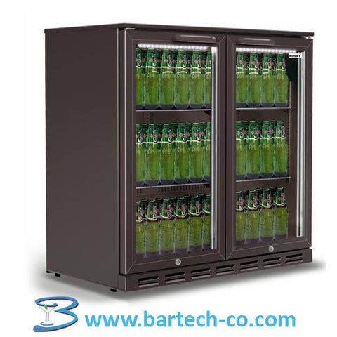 Bar Bottle Cooler, Beer Fridge,Bar Fridge 2 Door -220-240V - 50Hz- Sliding Door Undercounter - BartechCo