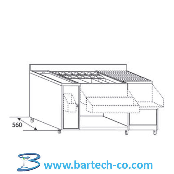 Cocktail Unit With Single Bowl & Drainer - BartechCo