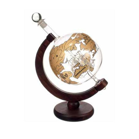 Mixology Vintage Globe Decanter Gold Ship - BartechCo