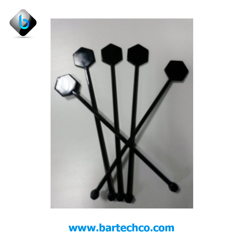"Hexagon drink stirrer black 7"" (200 counts) - BartechCo"