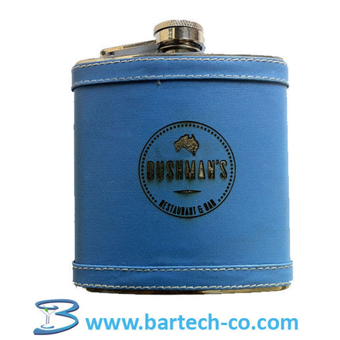 HIP FLASK 6 OZ WITH BLUE COVER - BartechCo