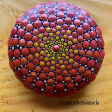 Load image into Gallery viewer, Red, Orange, and Yellow Sacred Mandala Stone - Christina Lee Dot Meditation Âû