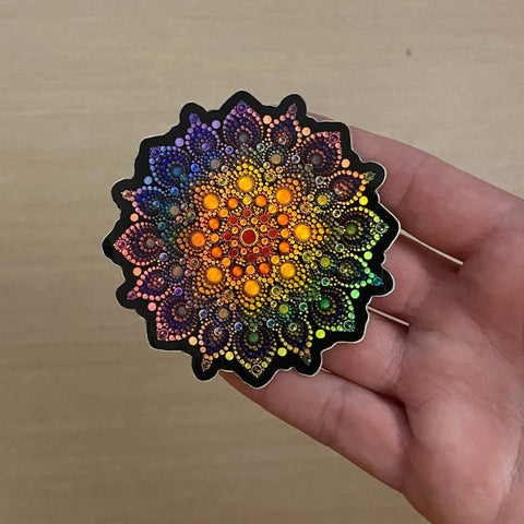 Holographic Rainbow Mandala Sticker