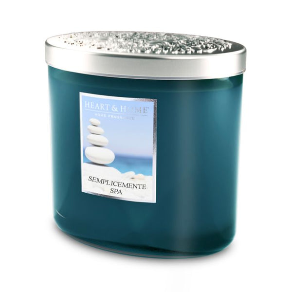 Heart & Home Candela Twin Ellipse in Cera di Soia due Stoppini - Semplicemente SPA - 230 Gr.