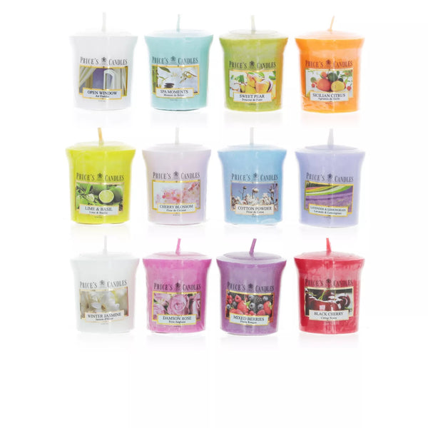 Set 12 Price's Candle Candele Votive - Fragranze Varie - 58 gr.