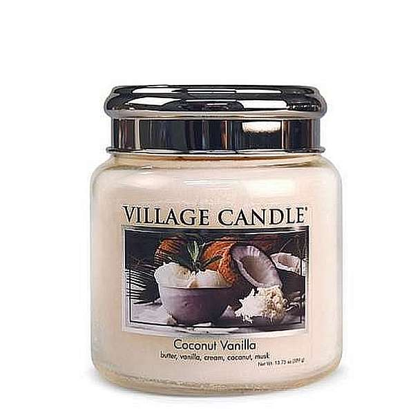 Village Candle Candela Media - Coconut Vanilla - 389 Gr.