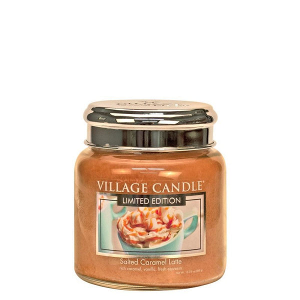 Village Candle Candela Media - Salted Caramel Latte - 454 Gr.