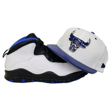 Load image into Gallery viewer, Matching New Era Metal Chicago Bulls Snapback hat for Jordan 10 Orlando White & Blue