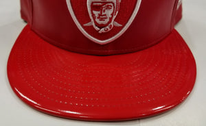 New Era NFL Faux Red Leather Shield Oakland Raiders 9Fifty Snapback Hat