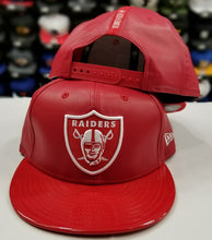 Load image into Gallery viewer, New Era NFL Faux Red Leather Shield Oakland Raiders 9Fifty Snapback Hat