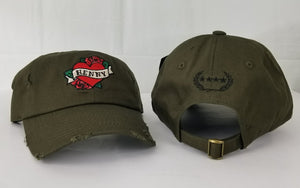 Henny By Field Grade OLIVE Green Distressed DAD Hat Snapback Strapback CAP