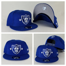 Load image into Gallery viewer, Exclusive New Era Royal Blue Oakland Raiders 9Fifty Stars Snapback hat