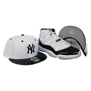 Matching New Era New York Yankees snapback Hat for Jordan 11 White Black Concord