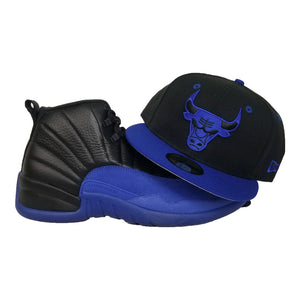 Matching New Era Black Chicago Bulls Snapback Hat for Jordan 12 Game Royal