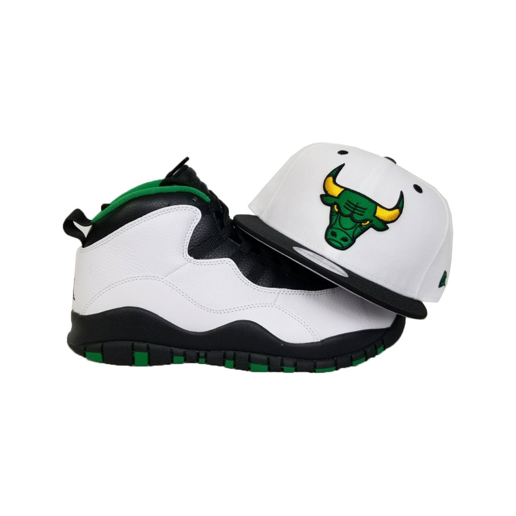 Matching New Era Chicago Bulls Snapback hat for Jordan 10 Seattle