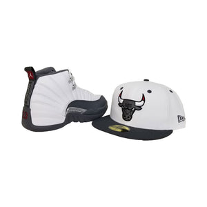 Matching New Era Chicago Bulls Fitted For Jordan 12 White Dark Grey