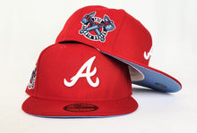 Load image into Gallery viewer, Red Atlanta Braves Icy Blue Bottom 1876 Side Patch New Era 59Fifty Fitted