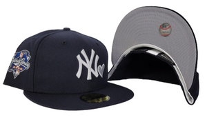 Navy Blue Heart New York Yankees Grey Bottom 2000 World Series New Era 59Fifty Fitted