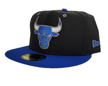 Load image into Gallery viewer, Matching New Era Black Chicago Bulls 59Fifty Fitted Hat for Jordan 13 Hyper Royal
