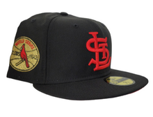 Load image into Gallery viewer, Black St. Louis Cardinals Red Bottom 1942 World Series New Era 59Fifty Fitted