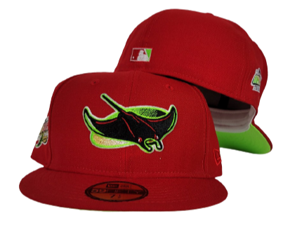 Red Tampa Bay Rays Apple Green Bottom 1998 Inaugural Season New Era 59Fifty Fitted