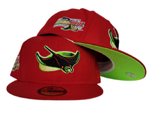 Load image into Gallery viewer, Red Tampa Bay Rays Apple Green Bottom 1998 Inaugural Season New Era 59Fifty Fitted