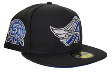 Load image into Gallery viewer, Black Los Angeles Angels Royal Blue Bottom 50th Anniversary New Era 59Fifty Fitted