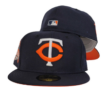 Load image into Gallery viewer, Navy Blue Minnesota Twins Orange Bottom 1985 All Star Game Side Patch New Era 59Fifty Fitted