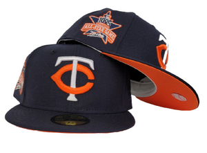 Navy Blue Minnesota Twins Orange Bottom 1985 All Star Game Side Patch New Era 59Fifty Fitted