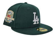Load image into Gallery viewer, Dark Green Los Angeles Dodgers Ice Blue Bottom 50th Anniversary Palm Tree New Era 59Fifty Fitted