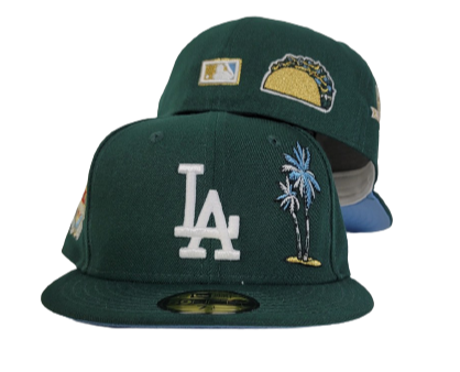 Dark Green Los Angeles Dodgers Ice Blue Bottom 50th Anniversary Palm Tree New Era 59Fifty Fitted