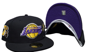 Black Los Angeles Lakers Purple Bottom 17X Champions Trophy Side Patch New Era 59Fifty Fitted
