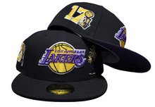 Load image into Gallery viewer, Black Los Angeles Lakers Purple Bottom 17X Champions Trophy Side Patch New Era 59Fifty Fitted