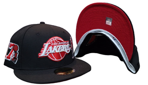 Black Los Angeles Lakers Red Bottom 17X Champions Trophy Side Patch New Era 59Fifty Fitted