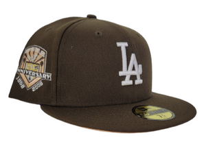 Brown Los Angeles Dodgers Soft yellow Bottom 50th Anniversary New Era 59Fifty Fitted