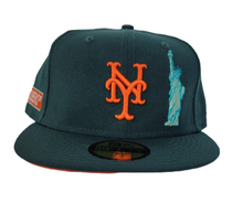 Load image into Gallery viewer, DARK GREEN NEW YORK METS ORANGE BOTTOM STATUE OF LIBERTY NEW ERA 59FIFTY FITTED