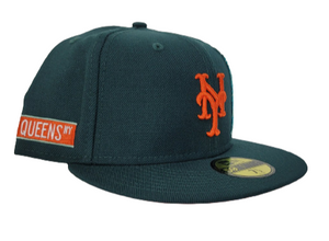 DARK GREEN NEW YORK METS ORANGE BOTTOM STATUE OF LIBERTY NEW ERA 59FIFTY FITTED